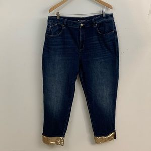 CHICO'S BOYFRIEND GOLD SEQUINED ANKLE JEANS